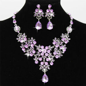 Rhinestone Necklace Earrings Set Crystal Purple Women With Box