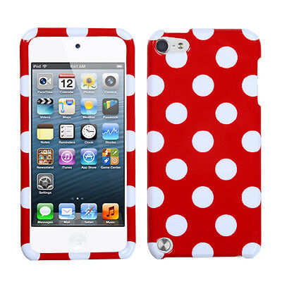 Red White Dots Faceplate Apple ipod Touch 5 5G Protector Hard Case Snap -