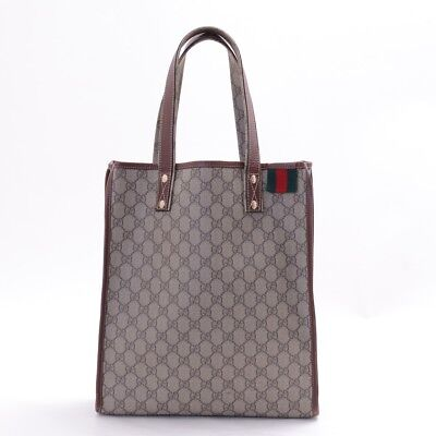 100% Authentic GUCCI PVC GG Beige Brown Tote Shoulder Bag 211135 from Japan