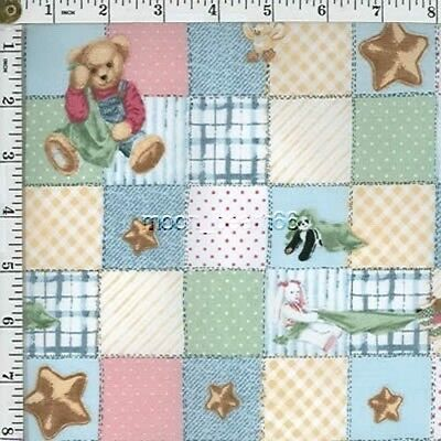 Blankie Bear And His Friends Rabbit Panda Bird Star on Patch Quilt Cotton Fabric