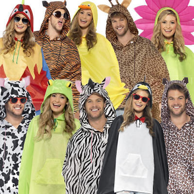 Animal Party Print Poncho Adults Fancy Dress Festival Waterproof Mac (Animal Print Fancy Dress Kostüme)