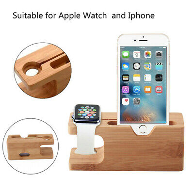 Wood Charging Dock Station Holder Charger Stand For Apple Watch iWatch iPhone UK