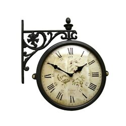 Antique Vintage Double Sided Wall Clock Home Decor Station Clock Gift - M195BRF6