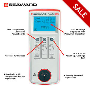 SEAWARD PT125EL Portable Appliance Tester PAT LCD Display CAT II 300V Leakage