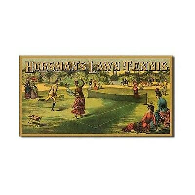 Vintage Replica Tin Metal Sign Horseman Lawn Tennis Racket ball Net glove 1400 for sale  Shipping to India