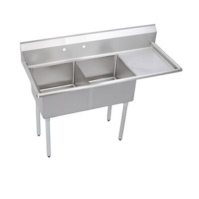Stainless Steel 57 X 24 2 Double Two Compartment Sink W Right Drainboard Nsf