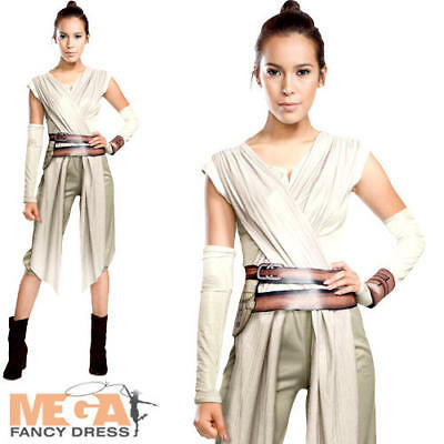 Deluxe Rey Ladies Fancy Dress Star Wars The Force Awakens Womens Adults Costume