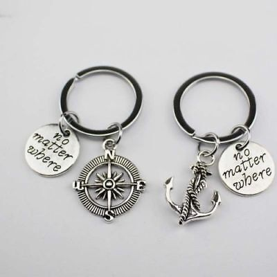 2pc No Matter Where Key Chain Ring Anchor Compass Friendship Couple Best -