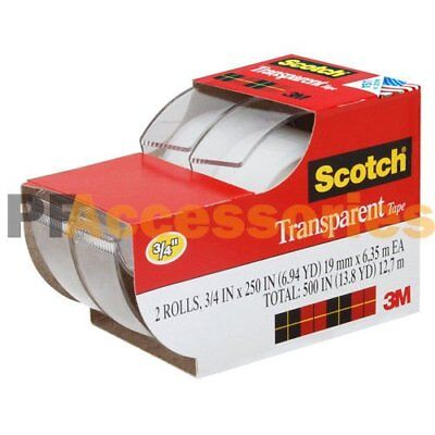 2x 3m Scotch Clear Office Transparent Tape 34 250 W Desktop Dispenser Lot