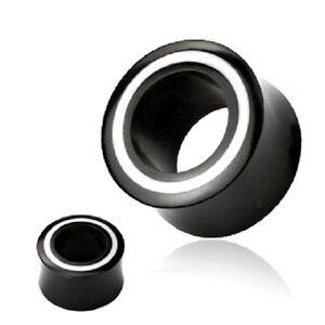 PAIR-of-White-Stripe-Organic-BLACK-Horn-EAR-PLUGS-Gauges-TUNNEL-Piercing-Jewelry