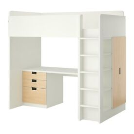 Ikea loft bed with desk, storage, drawers and cupboard