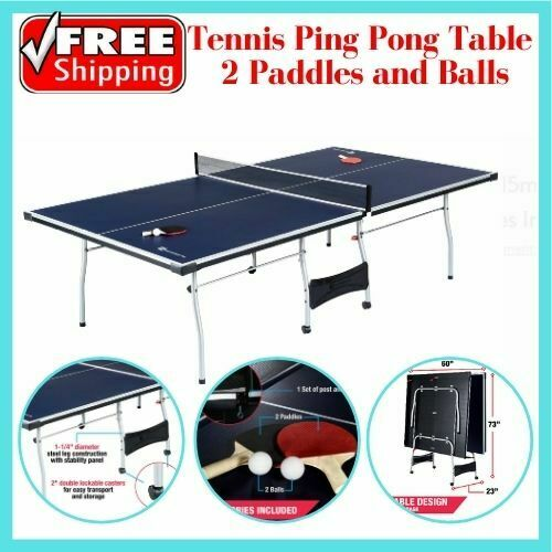 Official Size Outdoor/Indoor Tennis Ping Pong Table 2 Paddles and Balls Included