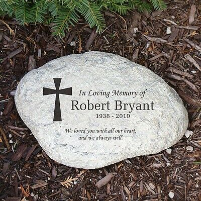 Personalized Memorial Garden Stone Engraved Cross In ...