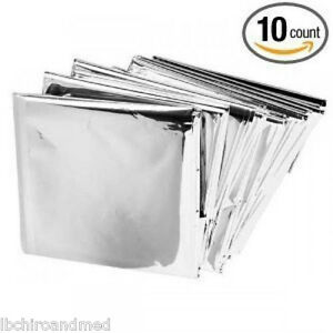 10-PACK-Emergency-Solar-Blanket-Survival-Safety-Insulating-Mylar-Thermal-Heat