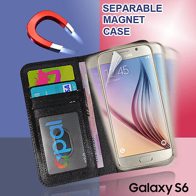 Magnetic Separable Flip Wallet Case Cover For  Samsung Galaxy S6 S5  Note 4 + SP Magnetic Wallet Case