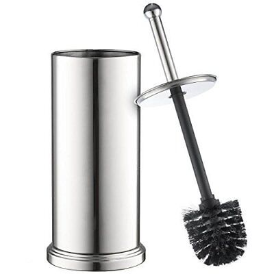 Chrome Toilet Brush Set Vented Stainless Steel Bathroom Bowl cleaner with Lid