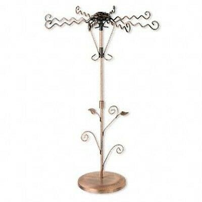 Antiqued Copper Steel Rose 20 Jewelry Holder Rotating Display Stand