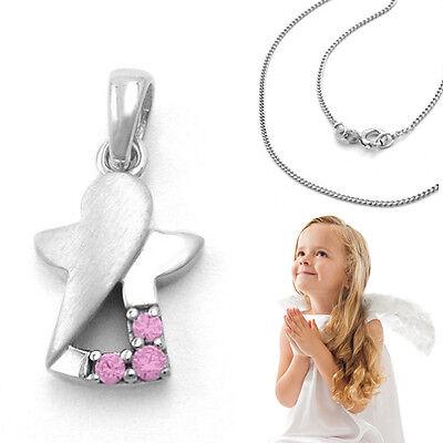 Mädchen Kommunion moderner Schutz Engel mit rosa Zirkonia Silber 925 und Kette