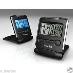 NEW  Westclox LCD Travel Alarm Clock 72028 Battery Powered Silver/Black Digital