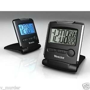 new westclox lcd travel alarm clock 72028 battery powered. Black Bedroom Furniture Sets. Home Design Ideas
