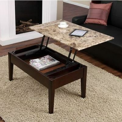 تربيزه جديد NEW Faux Marble Lift Top Coffee Table Espresso Solid Wood with Storage Tray Wood