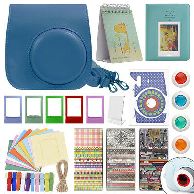 Deluxe Stylish Fun Accessory Kit for Fujifilm Instax Mini 9 Camera Cobalt Blue
