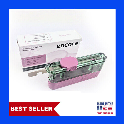 Low Profile Premium PTFE Coated Microtome Blades (50 a Box) By Encore, USA MADE