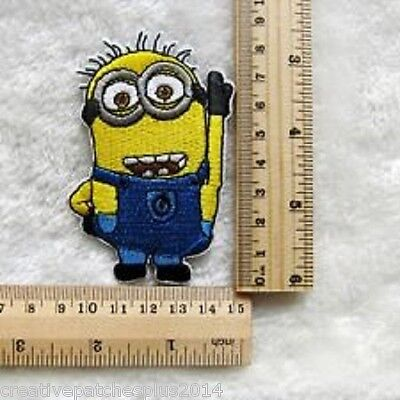 Two Eyed Minion (Despicable Me Two-Eyed Minion Small Embroidered patch sew or iron on FREE)