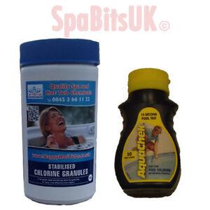1kg-Chlorine-Granules-50-Aquachek-Test-Strips-Hot-Tub-Spa-Tubs-Swimming-Pool