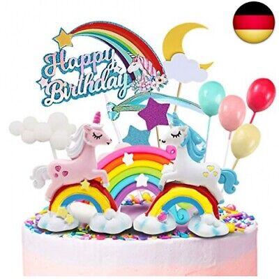 Humairc Einhorn Regenbogen Tortendeko Happy Birthday Torten Topper Luftballon