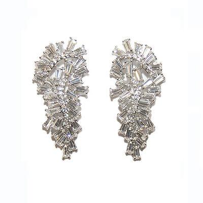 Baguette Cluster Cubic Zirconia CZ Chandelier Rhodium Earrings-Bridal-Wedding