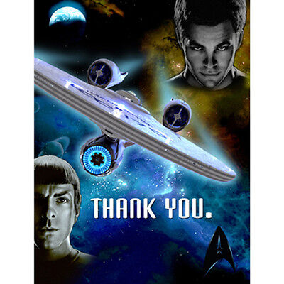 STAR TREK Thank you Notes 8/pkg, Birthday Party supplies Limited, Free Shipping