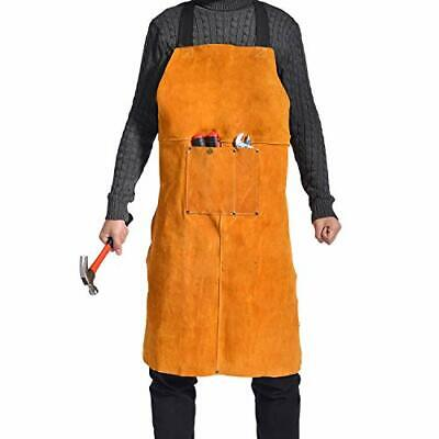 Leather Welding Apron For Men - Heat Flame Resistant Heavy Duty Work Bib Apron