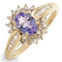NEW RING WITH DIAMONDS & TANZANITE CRAFTED IN 14K YELLOW GOLD