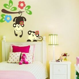 Cute Monkeys Playing Wall Decal - Brand New - Kilmarnock Area