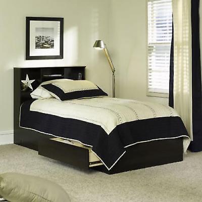 Twin Storage Bed With 2 Drawers Bookshelf Headboard Wood Frame Espresso (Espresso Twin Storage Headboard)