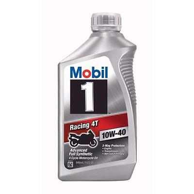 Mobil 1 Racing 4T 10W-40 Motorcycle Oil, 1-Quart 122286
