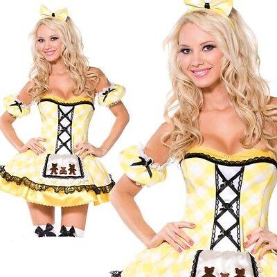 Damen Goldlöckchen Fee Märchen Verkleidung Kostüm Erwachsene Sexy Gelb Damen