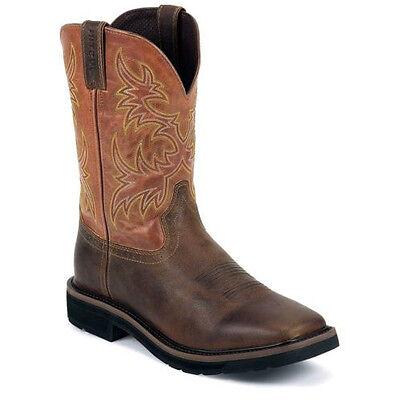 JUSTIN Mens Brown Square Toe Rugged Tan America Orange Work Boots WK4810
