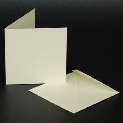 Craft UK blank greeting cards & envelopes - square 4 x 4 inch ivory colour x 50