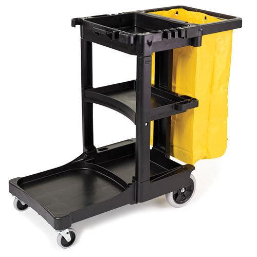Rubbermaid FG617388BLA Janitor Cart, Black