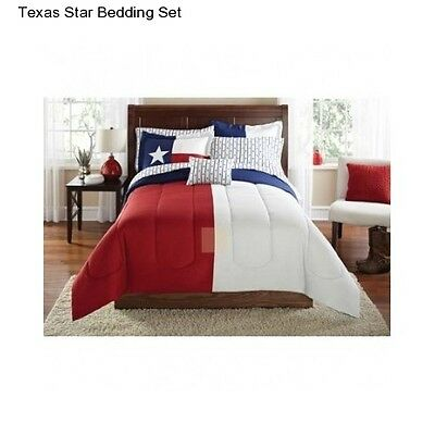 New Texas Star Full Size Comforter Set Bedding Bedspread Sheets Red White Blue