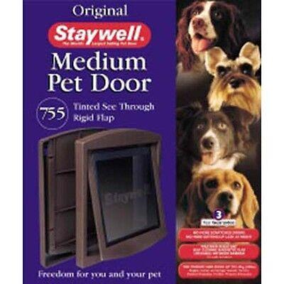 Staywell Cat Flap Small Pet Dog Door 2 Way Medium Brown 755
