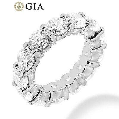 GIA 5.29 ct Round Diamond Eternity Ring 14k Gold Band 15 x 0.35 ct E-F VS size 6