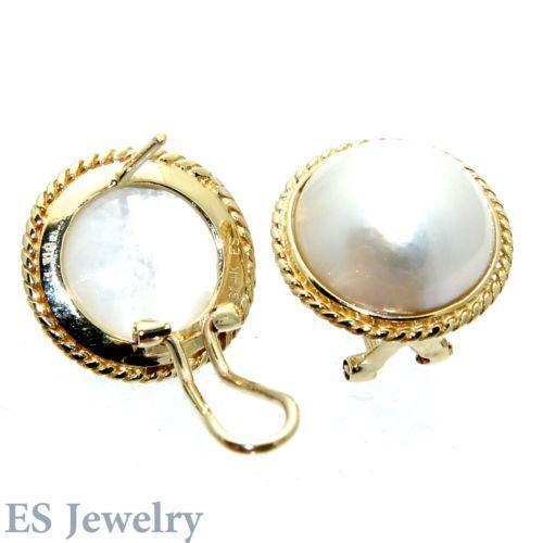 Mabe Pearl Earrings 14k Ebay