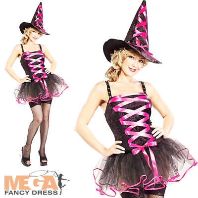 Sexy Pink Ballerina Witch Ladies Halloween Fancy Dress Adults Costume Outfit New