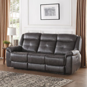 Justin Italian Leather 3 Seat Power Reclining Sofa - Charcoal