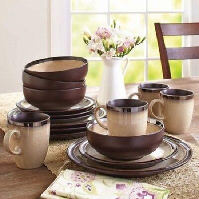 Cottage 16 Piece Dinnerware Set - Country Cottage Dining Serving Set Beige Dinnerware Dishes Plate Mug 16 Piece