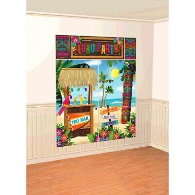 HAWAIIAN LUAU Tiki WALL POSTER DECORATING KIT (5pc) ~ Birthday Party Supplies