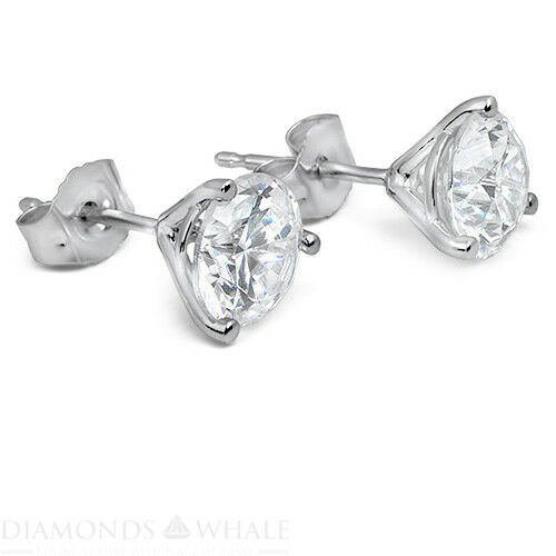 1.1 Ct Round Stud Diamond Earrings Si1/d 14k White Gold Engagement, Enhanced